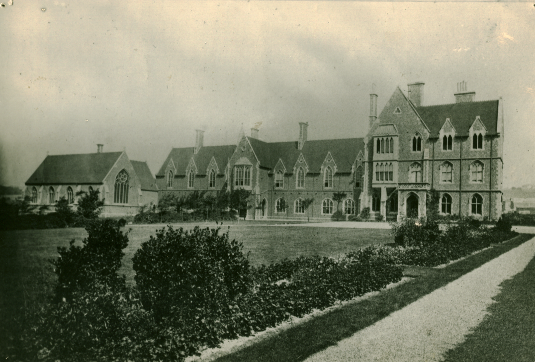 A photograph of the College quad from around 1870, showing the Chapel, including the east window, which was moved to its current position in 1922.