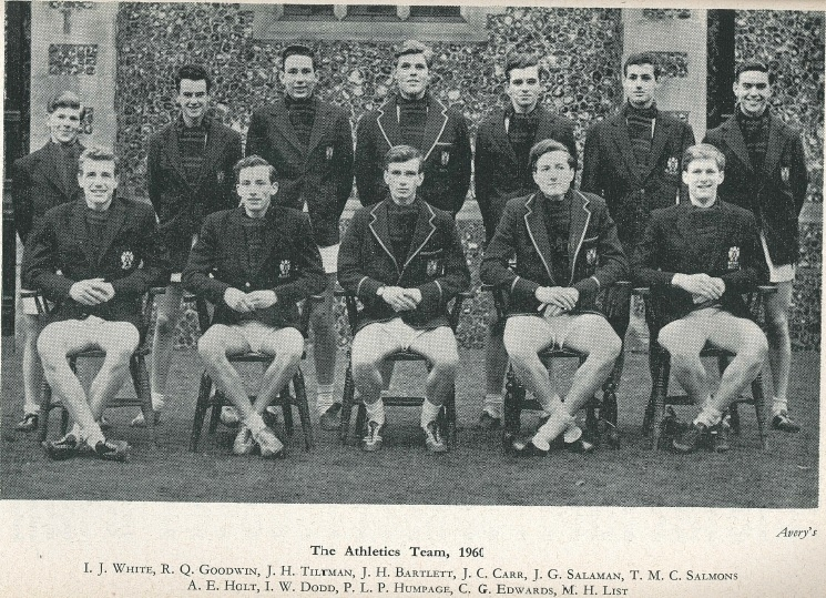 Ian W. Dodd, as part of the Brighton College Athletics Team, 1960