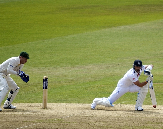 Matt plays a shot on the 3rd day of the 1st Test of the 2013 England v Australia Ashes series at Trent Bridge, Nottingham.