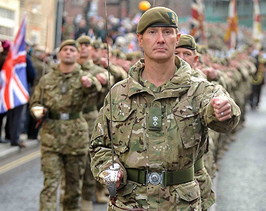 Lieutenant Colonel Zac Stenning leads the soldiers of 3rd Battalion The Yorkshire Regiment through Warminster town centre