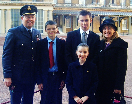 The Hay family going into Buckingham Palace just prior to the investiture