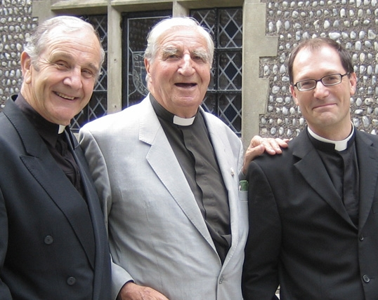 Rev. David Grigor (former College Chaplain), Rev Canon C J (Bill) Peters (Chaplain, 1950-69) and present Chaplain, Father Robert Easton (School Chaplain)