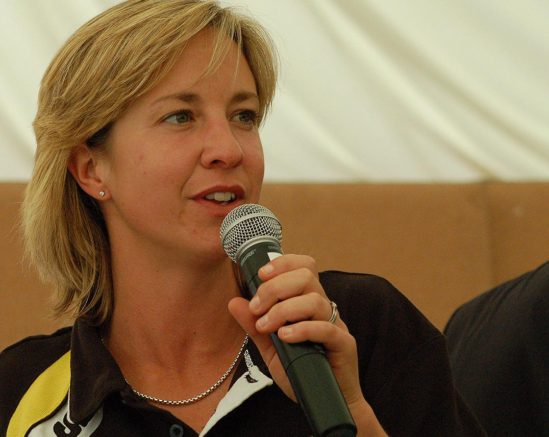 Clare speaking at the 2007 Lashings match at Brighton College