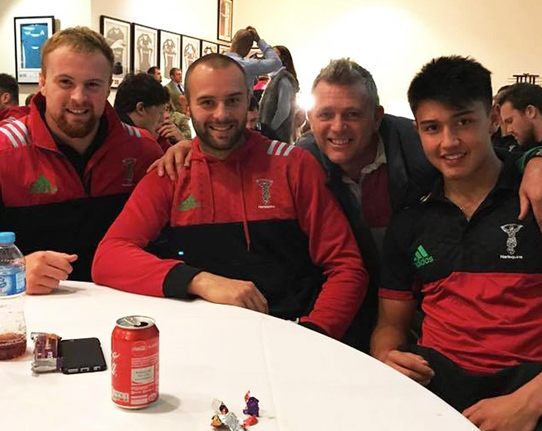 James Chisholm (Du. 2011-13), Ross Chisholm (D. 2007-09), Joey Appleton (Du. 1979-84) & Marcus Smith (Le. 2011-17) at the Harlequins Rugby Union v Exeter Chiefs Official game on 19th November 2017